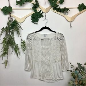 LUCKY BRAND Top Lace White 3/4 Sleeves XS